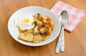 Stir fried pepper Fish Steak with fried eeg serving boiled mix v — Stock Photo