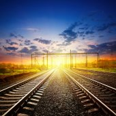 Railway receding into the distance — Stock Photo