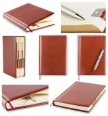 Set of photos diary with brown cover — Stock Photo