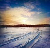 Road through snowy field — Stock Photo