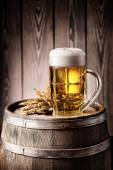 Mug of light beer with foam and spikelets — Stock Photo
