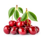 Bunch of ripe cherries with leaves — Stock Photo