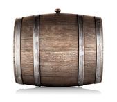Wooden barrel lying on its side — Stock Photo