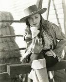 Pensive cowgirl — Stock Photo