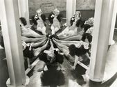 Synchronized dancers — Foto Stock