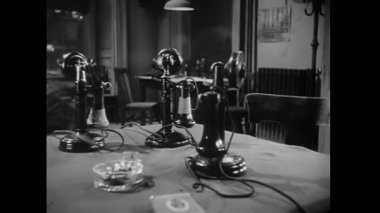 Old-fashioned telephones on table — Stock Video