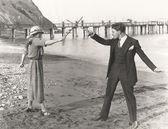Man and woman imitating fight — Stock Photo
