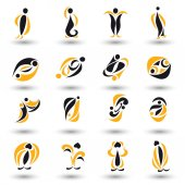 Set of different yellow abstract flat elements — Stock Vector