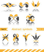 Set of different abstract yellow flat elements — Vetor de Stock