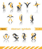 Set of different abstract yellow flat elements — Stock Vector