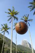 Football Soccer Ball Sugarloaf Mountain Rio de Janeiro Brazil — Stock Photo