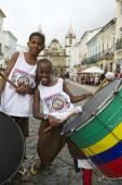 Brazilian Children Drumming Pelourinho Salvador — Stock Photo