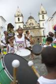 Brazilian Children Drumming Pelourinho Salvador Bahia — Stock Photo
