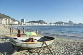 Brazilian Fishing Boat Copacabana Beach Rio — Stock Photo
