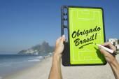 Obrigado Brasil Soccer Football Tactics Board Rio de Janeiro — Stockfoto