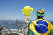 Brazil Champion Holding Trophy Wrapped in Brazilian Flag Rio — Stock Photo