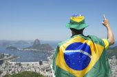 Patriotic Brazil Fan Standing Wrapped in Brazilian Flag Rio — Stock Photo