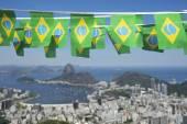Brazilian Flags Rio de Janeiro Brazil Skyline — Stock Photo