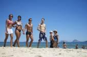 Group of Brazilian Friends Ipanema Beach Rio — Stock Photo