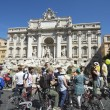 Trevi Fountain Tourists on Cycles Rome Italy — Stock Photo #71217349