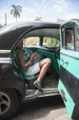Havana Cuba Taxi with Passengers — Стоковое фото