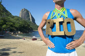 Gold Medal RIO Athlete Standing Sugarloaf Mountain — Stockfoto