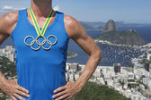 Olympic Rings Gold Medal Athlete Rio de Janeiro — Stock Photo