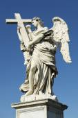 Statue of Angel Holding Cross in Rome — Stock Photo