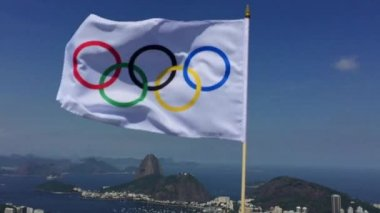 Olympic Flag Waving at Rio de Janeiro Skyline Overlook — Stock Video