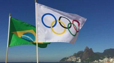 Olympic and Brazilian Flags Flying Rio de Janeiro Brazil — Stock Video