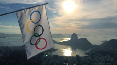 Olympic Flag Hanging at Rio de Janeiro Skyline Overlook — Stock Video