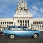 Havana Cuba Capitolio Building with Vintage Car — Stock Photo #73649301