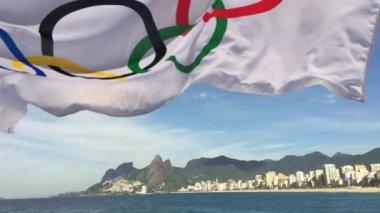 Olympic Flag Fluttering Rio de Janeiro Brazil — Stock Video
