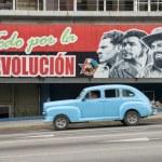 Communist Propaganda Billboard and Car in Havana Cuba — Stock Photo #77165917