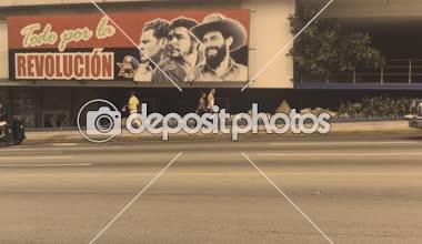 Communist Propaganda Billboard Havana Cuba Street — Stock Video