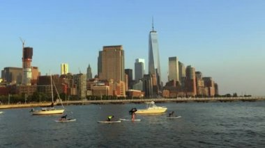 Hudson River Skyline Downtown New York City — Stock Video