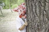 Murderer in forest — Stock Photo