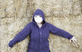 Woman scared haystack — Stock Photo