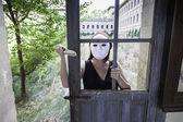 Murderer hidden door — Stock Photo