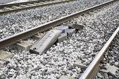 Crossing railroad tracks — Stock Photo