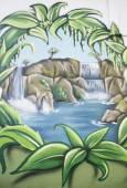 Graffiti waterfall — Stock Photo