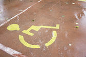 Disabled yellow sign — Stock fotografie