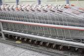 Metal shopping carts — Stock Photo