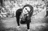 Woman smiles diabolical — Stock Photo
