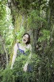 Girl screaming in forest — Stock Photo