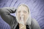 Woman screams and anguish — Stock Photo