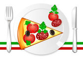 A slice of pizza with tomato, ham, olives and parsley on a plate on white background — Stock Vector