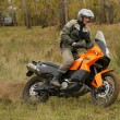 Постер, плакат: Buzuluk Russia September 25 2010: riding the motorcycle in t