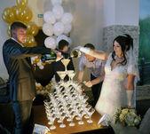 Buzuluk, Russia - September 19, 2014: the Wedding. The couple po — Stock Photo