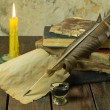 Old books, candle and feather with inks — Stock Photo #75417181